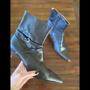 Ann Taylor Loft Leather Ankle Boots Black Size 9
